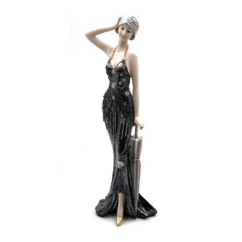 Art Deco Lady Figurine Broadway Belles Black Dress Range by Juliana 'Rose' 62725